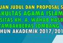 Time Schedule Pengajuan Judul dan Proposal Skripsi TA 2017/2018